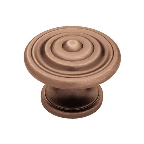 Liberty Hardware Contempo 1-3/8 Inch Diameter Brushed Antique Copper Cabinet Knob PN0407-RAL-C