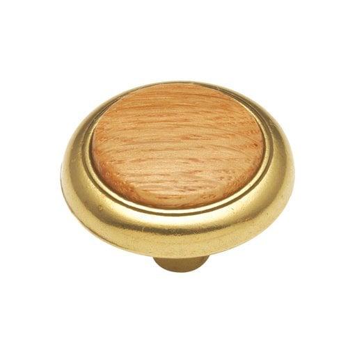"""Hickory Hardware Woodgrain Knob 1-1/4"""" Dia Oak P715-OAK"""