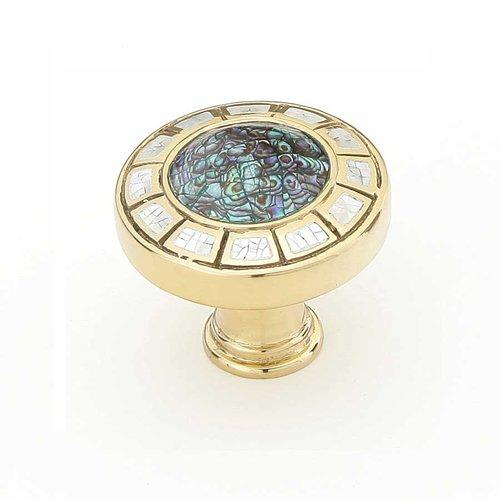 Schaub and Company Fair Isle 1-1/2 Inch Diameter Polished Brass Cabinet Knob 655-PB