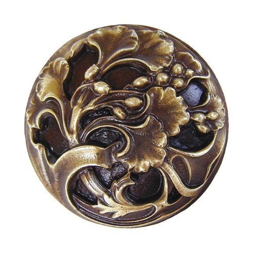 Notting Hill Floral 1-3/8 Inch Diameter Antique Brass Cabinet Knob NHK-102-AB