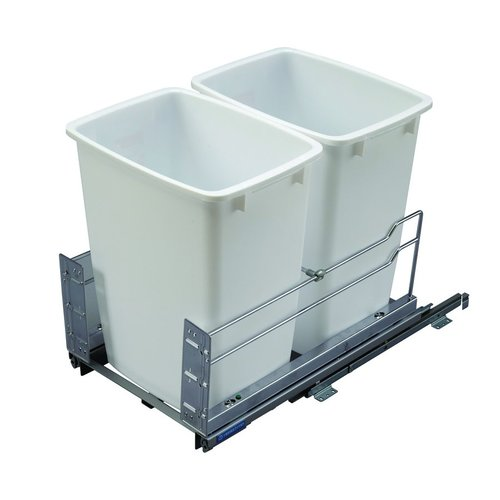Kessebohmer Double Trash Pullout 36 Quart White 502.56.210