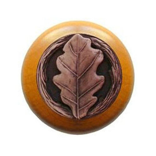 Notting Hill Leaves 1-1/2 Inch Diameter Antique Copper Cabinet Knob NHW-744M-AC