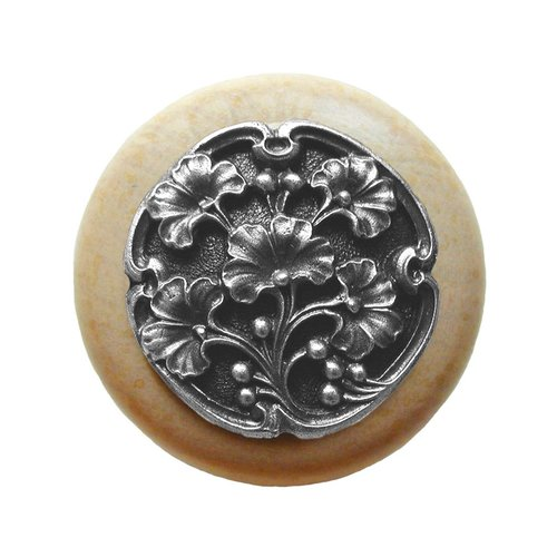 Notting Hill Leaves 1-1/2 Inch Diameter Antique Pewter Cabinet Knob NHW-702N-AP