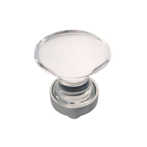 Hickory Hardware Gemstone Oval Knob 1-1/4 inch Diameter Clear Glass and Satin Nickel HH075852-GLSN