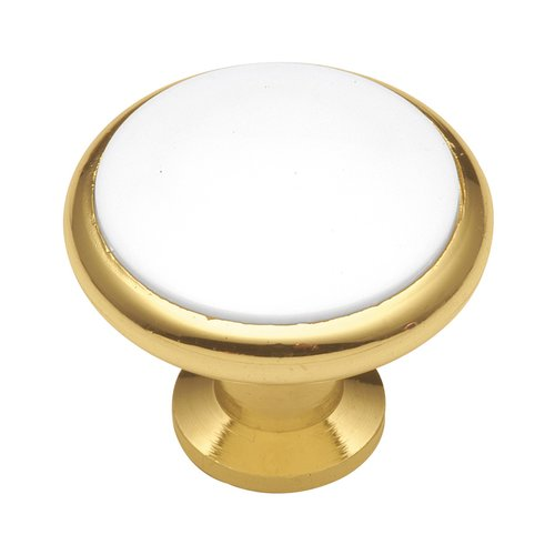 Hickory Hardware Tranquility 1-3/8 Inch Diameter Polished Brass & White Cabinet Knob P427-W