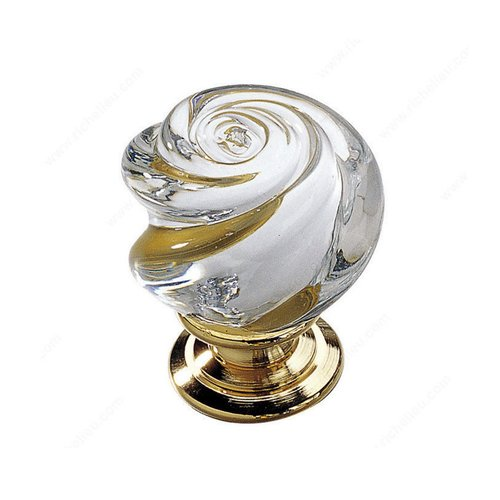Classic Glass 1-3/16 Inch Diameter Brass,Clear Cabinet Knob <small>(#903013011)</small>