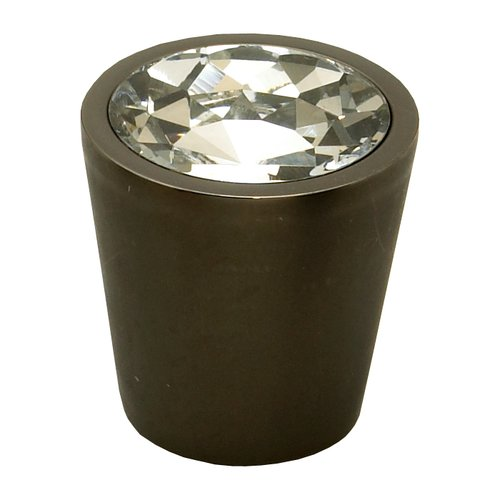 Schaub and Company Fire 1-1/16 Inch Diameter Clear Crystal/Bronze Cabinet Knob 72-C-BZ