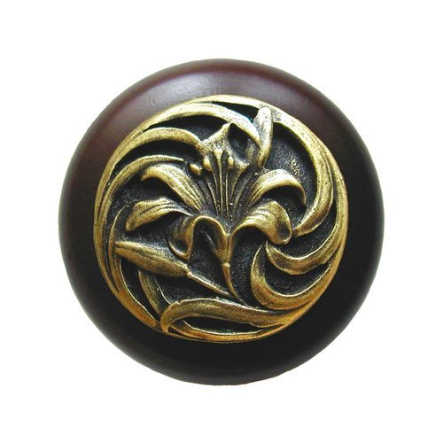 Notting Hill Floral 1-1/2 Inch Diameter Antique Brass Cabinet Knob NHW-703W-AB
