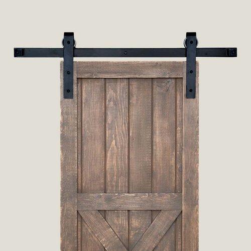 Acorn Manufacturing Basic Barn Door Rolling Hardware and 8 feet Track Smooth Iron BH1BI-8