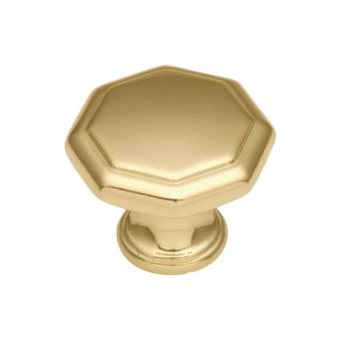 Hickory Hardware 1-1/8 Inch Diameter Polished Brass Cabinet Knob P14004-3