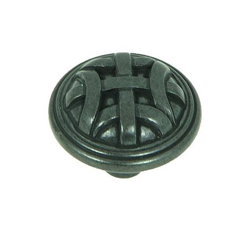 Stone Mill Hardware Sheffield 1-1/4 Inch Diameter Antique Black Cabinet Knob CP82115-BA