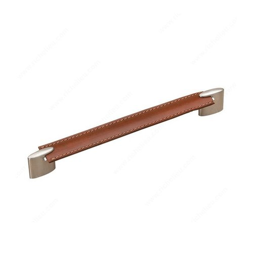 Richelieu Wood & Leather 8-13/16 Inch Center to Center Brushed Nickel/Brown Leather Cabinet Pull 74520422419545