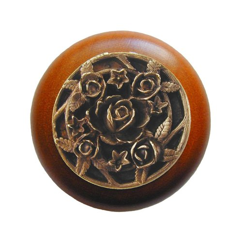 Notting Hill Floral 1-1/2 Inch Diameter Antique Brass Cabinet Knob NHW-726C-AB