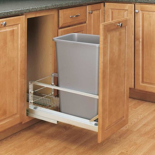 Rev-A-Shelf Single Trash Pullout 50 Quart-Silver 5349-1550DM-117