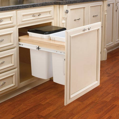 Rev-A-Shelf Double Trash Pullout 35 Quart-Wood 4WCTM-24DM2