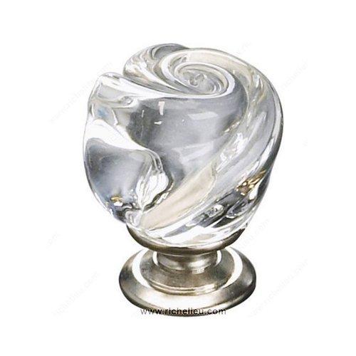 Richelieu Classic Glass 1-3/16 Inch Diameter Brushed Nickel,Clear Cabinet Knob 903019511