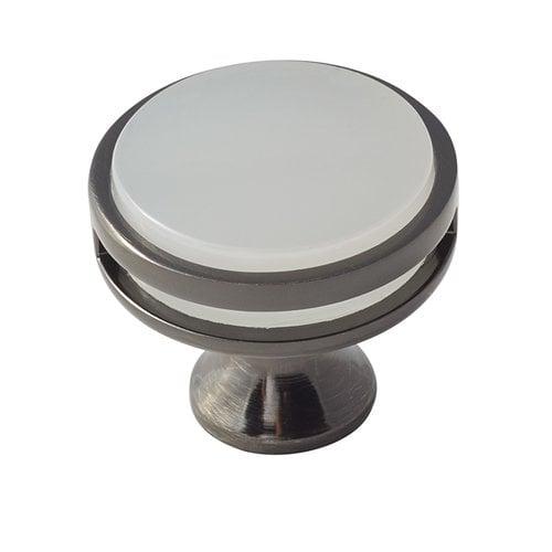 Amerock Oberon 1-3/8 Inch Diameter Gunmetal/Frosted Acrylic Cabinet Knob BP36608GMFA