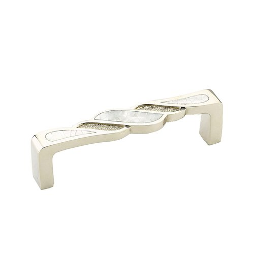 Schaub and Company Arioso 3-3/4 Inch Center to Center Mother of Pearl, Polished Nickel Cabinet Pull 631-MOP/PN
