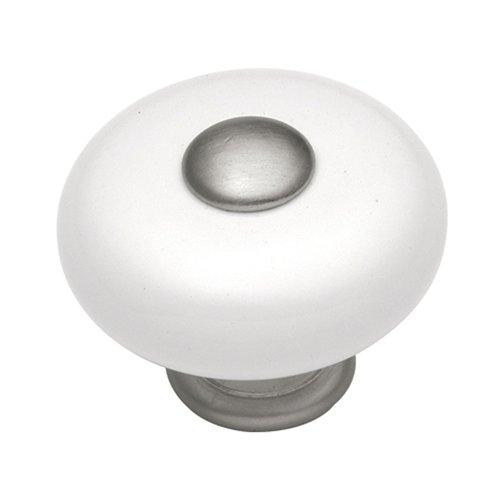Hickory Hardware Tranquility 1-1/4 Inch Diameter Satin Nickel with White Cabinet Knob P222-SN