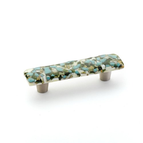 Schaub and Company Ice 3 Inch Center to Center Green/Blue Pebbles Cabinet Pull 30-GBP