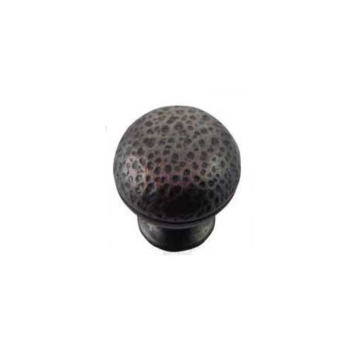 MNG Hardware Hammered 1-1/4 Inch Diameter Oil Rubbed Bronze Cabinet Knob 12813