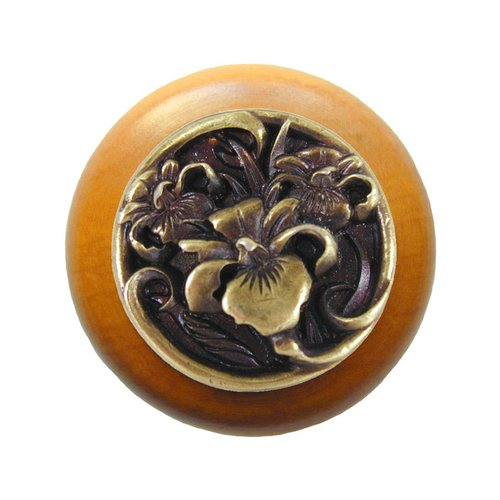 Notting Hill Floral 1-1/2 Inch Diameter Antique Brass Cabinet Knob NHW-728M-AB