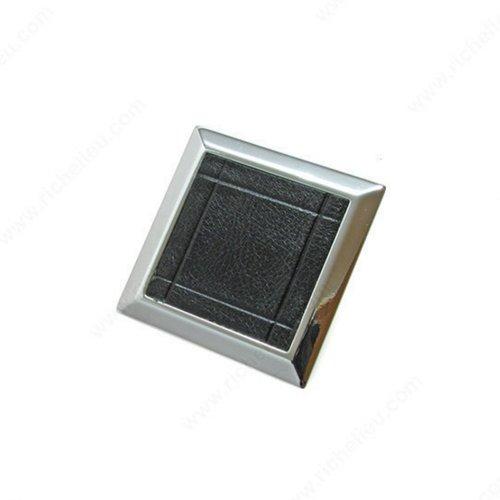 Richelieu Black & White 2-3/8 Inch Diameter Chrome, Black Cabinet Knob 5736014090