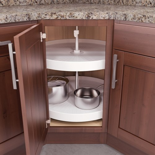 "Vauth Sagel V Susan 32"" Full Round Lazy Susan 2 Tray FT-3221WH"