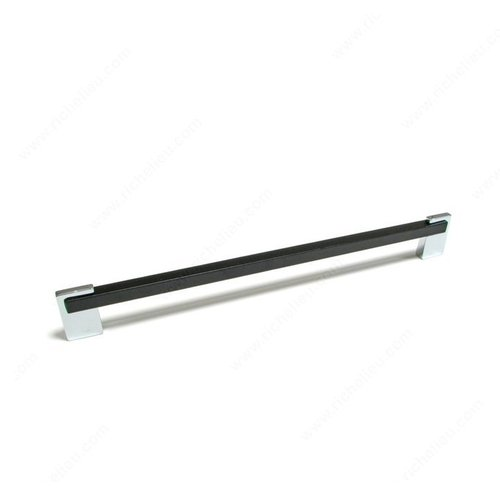 Richelieu Linea 8-13/16 Inch Center to Center Chrome,Black Cabinet Pull 3222414090
