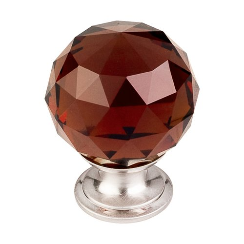 Crystal 1-3/8 Inch Diameter Wine Crystal Cabinet Knob <small>(#TK122BSN)</small>