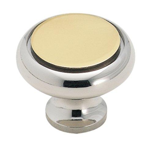 Amerock Solid Brass 1-1/4 Inch Diameter Brass/chrome Cabinet Knob BP1956BC