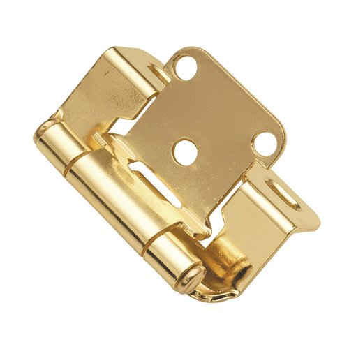 "Hickory Hardware Partial Wrap 1/2"" Overlay Hinge Pair Polished Brass P2710F-3"