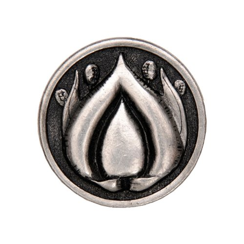 Hope Blossom 1-3/8 Inch Diameter Brilliant Pewter Cabinet Knob <small>(#NHK-281-BP)</small>