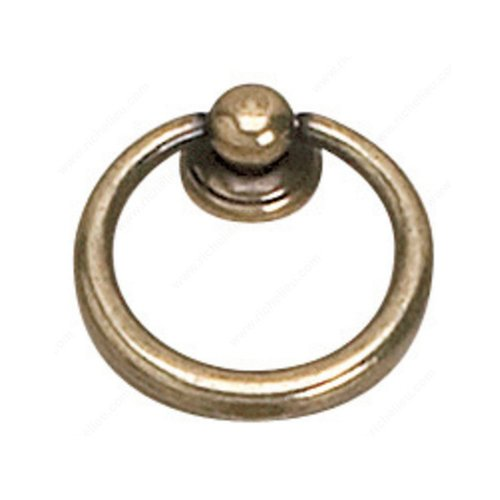 Richelieu Povera 1-9/16 Inch Diameter Burnished Brass Cabinet Ring Pull 920240BB