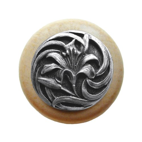 Notting Hill Floral 1-1/2 Inch Diameter Antique Pewter Cabinet Knob NHW-703N-AP