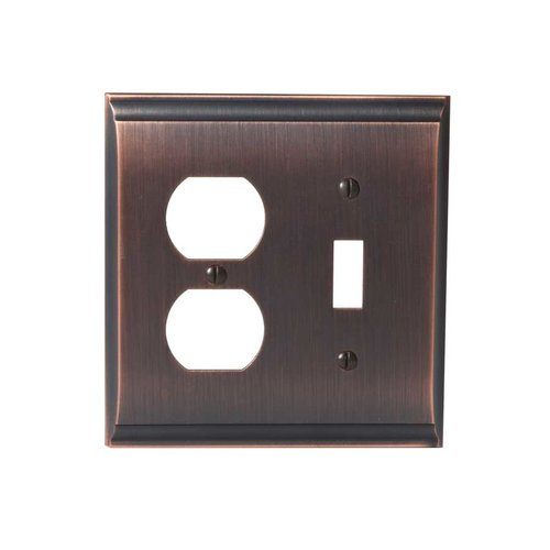Amerock Candler One Toggle, One Receptacle Wall Plate Oil Rubbed Bro BP36510ORB
