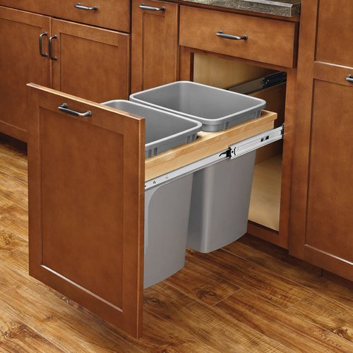 Rev-A-Shelf Double Trash Pullout 50 Quart W/ Soft-Close 4WCTM-2150BBSCDM-2