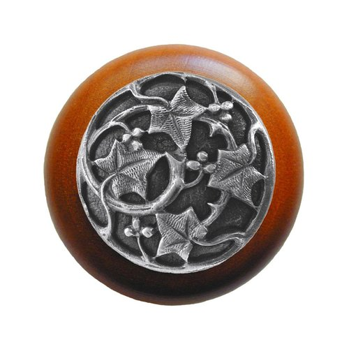 Notting Hill Leaves 1-1/2 Inch Diameter Antique Pewter Cabinet Knob NHW-715C-AP