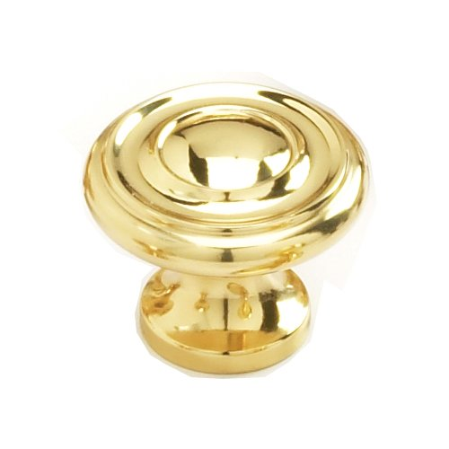 Schaub and Company Solid Brass Traditional Designs 1-1/4 Inch Diameter Polished Brass Cabinet Knob 703-03