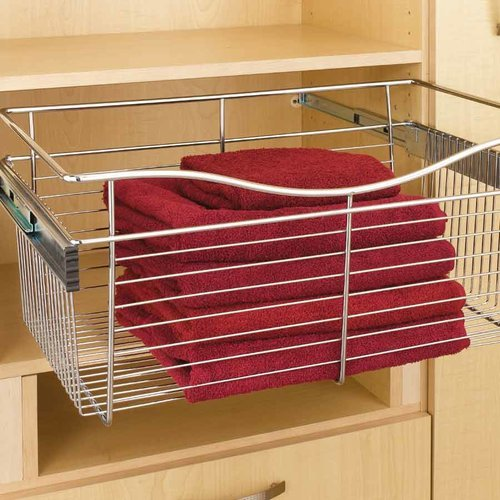 Rev-A-Shelf Pullout Wire Basket 18 inch W x 16 inch D x 7 inch H CB-181607CR