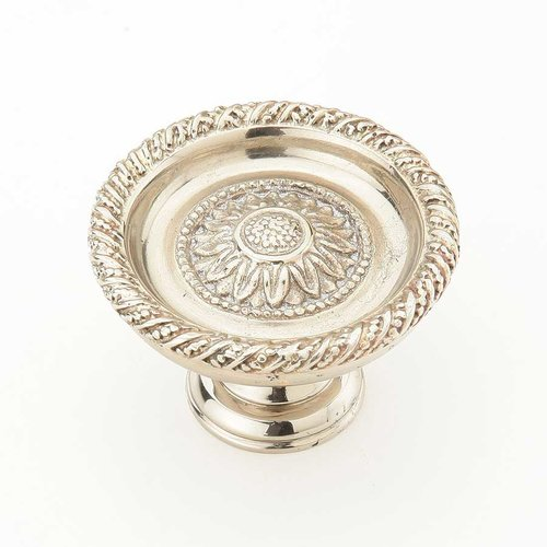 Schaub and Company Sunflower 1-3/4 Inch Diameter White Brass Cabinet Knob 921L-WB
