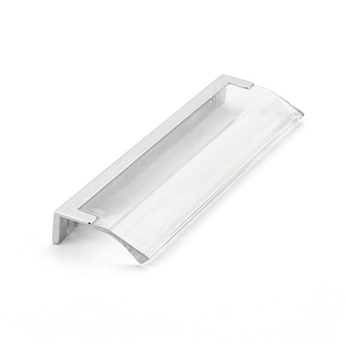"""Schaub and Company Positano Edge Pull 5-1/16"""" C/C Polished Chrome and Clear 324-26-CL"""