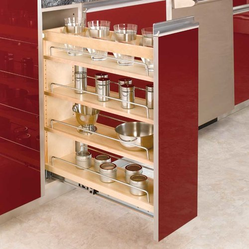 "Rev-A-Shelf 3-Tier Pull-Out Base Organizer 8"" Wood 448-BC-8C"