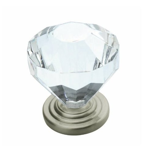 Traditional Classics 1-1/4 Inch Diameter Crystal/Satin Nickel Cabinet Knob <small>(#BP14303-CG10)</small>