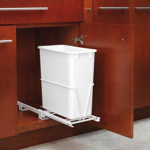 Rev-A-Shelf Single Trash Pullout 20 Quart-White RV-814PB