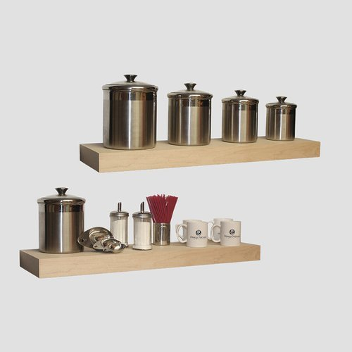 Omega National Products 42 inch Long Floating Shelf System Unfinished Maple FS0142MUF1