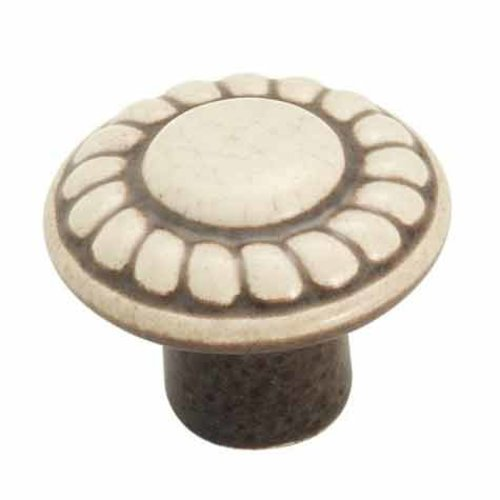 Colour Washed Ceramics 1-3/8 Inch Diameter Distressed Cream Cabinet Knob <small>(#BP1321DW)</small>