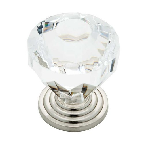 Liberty Hardware Design Facets 1-7/16 Inch Diameter Satin Nickel & Clear Cabinet Knob P23944W-116-C
