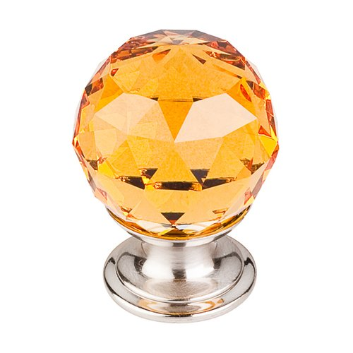 Crystal 1-1/8 Inch Diameter Amber Crystal Cabinet Knob <small>(#TK111BSN)</small>