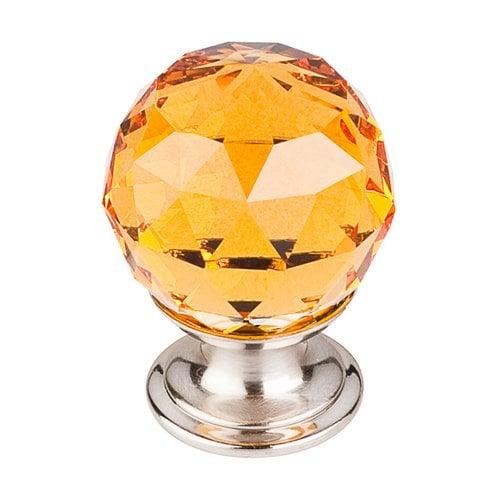 Top Knobs Crystal 1-1/8 Inch Diameter Amber Crystal Cabinet Knob TK111BSN